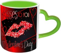 Jiya Creation1 Kisses To You Valentine Green Handle Ceramic Mug (350 Ml)