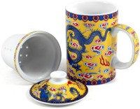AdorroBella Yellow Dragons Chinese Ceramic Tea  With Lid Ceramic Mug (200 Ml)