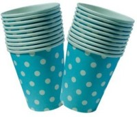 Smartcraft Polka Dotted Cup-Light Blue Paper Mug (100 Ml, Pack Of 10)