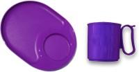 Tupperware Mood  With Snackatizer Plate Plastic Mug (250 Ml, Pack Of 2)