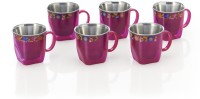 RK Super Lock & Seal Tea / Coffee Cup (Gold Star) Pink Color Stainless Steel, Plastic Mug (110 Ml, Pack Of 6)