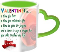Jiya Creation1 For Lovely Valentine Green Handle Ceramic Mug (350 Ml)