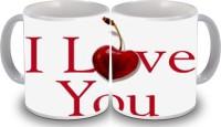 PSK I Love You Set Of Two 106 Ceramic Mug (350 Ml, Pack Of 2)