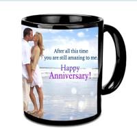 Jiyacreation1 Love Couple Theme Happy Anniversary Multicolor Ceramic Mug (3.5 Ml)