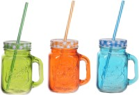 ZIDO Colorful Designer Mason Jar Glass Mug (450 Ml, Pack Of 3) - MUGEGH3SNVJPWE9H