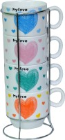 Royal Beei 4 Cup Set With Stainless Steel Holder,fine Bone China,small Heart Bone China Mug (120 Ml, Pack Of 5)