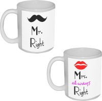 TIA Creation Mr. And Mrs. Right  Ceramic Mug (330 Ml, Pack Of 2)