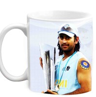 Jiyacreation1 MS Dhoni With T20 World Cup Trophy Multicolor White Ceramic Mug (3.5 Ml)