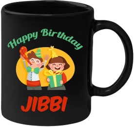 Huppme Happy Birthday Jibbi Black  (350 ml) Ceramic Mug