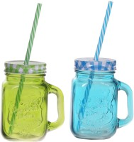 ZIDO Colorful Designer Mason Jar Glass Mug (450 Ml, Pack Of 2) - MUGEGH3PKEHCGETB
