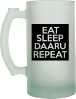 Keep Calm Desi Eat Sleep Daaru Repeat Frosted Beer  Glass Mug (500 Ml)
