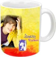 Jiyacreation1 Handsome Bieber Multicolor White Ceramic Mug (3.5 Ml)