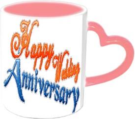 Jiyacreation1 Happy Wedding Anniversary Pink Heart Handle Ceramic Mug
