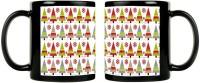 ShopMantra Christmas Tree Seamless Pattern Design Black  Ceramic Mug (350 Ml, Pack Of 2)