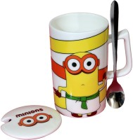 Satyam Kraft Minions  - Meet Stuart Kevin And Bob  With Metal Spoon And Lid Ceramic Mug (340 Ml)