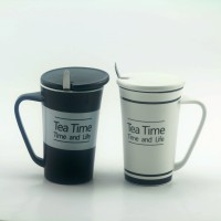 Importwala Tea Time Coffe / Milk S With Lid And Spoon- Set Of 2 Ceramic Mug (400 Ml, Pack Of 2)