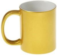 CreativesKart Plain Golden Ceramic Mug (300 Ml)