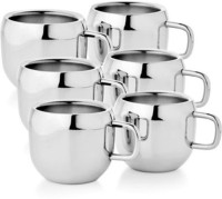 Verow Double Wall Apple Set Of 6 Stainless Steel Mug (150 Ml, Pack Of 6)