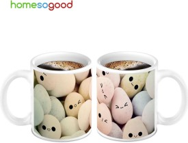 HomeSoGood Ultimate Egg Smileys On Coffee Ceramic Mug