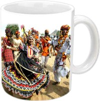 Jiyacreation1 Kalbeliya Nartiye Multicolor White Ceramic Mug (3.5 Ml)