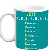 Jiyacreation1 Best Friends Full Form Multicolor White Ceramic Mug (3.5 Ml)