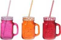 ZIDO Colorful Designer Mason Jar Glass Mug (450 Ml, Pack Of 3) - MUGEGH3VG3WWRFZD