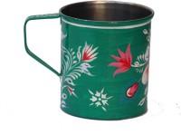 ECraftIndia Handpainted Decorative Stainless Steel Mug (180 Ml) - MUGEGCARZXDDWFZH