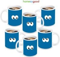 HomeSoGood Lovely Blue Ceramic Mug (280 Ml, Pack Of 6)