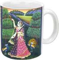 Jiyacreation1 Krishna Daasi MEERA With Nature View Multicolor White Ceramic Mug (3.5 Ml)