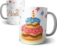 Chiraiyaa Happy Birthday With Cake And Papers Ceramic Mug (300 Ml)