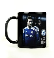 Shoprock Chelsea And ManU Mug (Black, Pack Of 1)