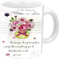 RajLaxmi For Mother-In-Law Happy B'day White  Ceramic Mug (3.5 Ml)