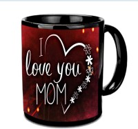 Jiyacreation1 I Love You Mom In Heart Flower Shape Multicolor Ceramic Mug (3.5 Ml)