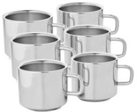 Verow Double Wall Sobar Set Of 6 Stainless Steel Mug (150 Ml, Pack Of 6)