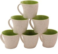 Aarzool Duo Tone Kaju Shape Cups Ceramic Mug (200 Ml, Pack Of 6)