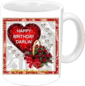 Jiyacreation1 Happy Birthday Darlin White Ceramic Mug