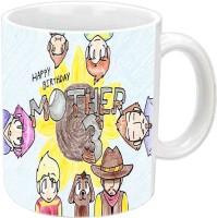 Rajlaxmi Nice Sketch Design Happy B'day Mom White  Ceramic Mug (3.5 Ml)