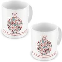 Home India Fancy Printed Cute White Coffee S Pair 600 Ceramic Mug (300 Ml, Pack Of 2)