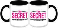HomeSoGood Get Started To Get Ahead(Set Of 2) Ceramic Mug (325 Ml, Pack Of 2)