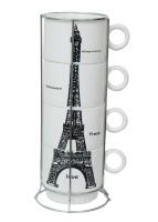 Royal Beei 4 Cup Set With Stainless Steel Holder,fine Bone China,paris Bone China Mug (220 Ml, Pack Of 5)