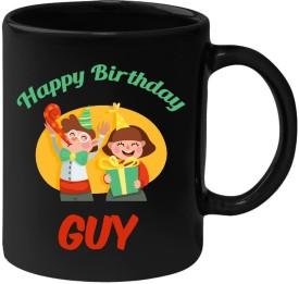 Huppme Happy Birthday Guy Black  (350 ml) Ceramic Mug