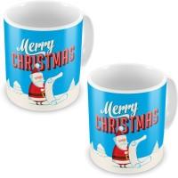 Home India Fancy Santa Printed Blue Coffee S Pair 611 Ceramic Mug (300 Ml, Pack Of 2)