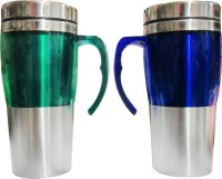 Blue Birds Hot Two Travel Coffee Stainless Steel Mug (400 Ml, Pack Of 2)