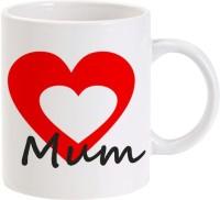 LOLprint MUM Red And White Hearts Ceramic Mug (325 Ml)