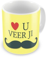 Home India Love U Veerji With Mustache Print Cute Coffee  548 Ceramic Mug (300 Ml)