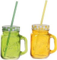 ZIDO Colorful Designer Mason Jar Glass Mug (450 Ml, Pack Of 2) - MUGEGH43CDXYJHBN