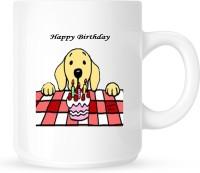 Huppme Happy Birthday With Cute Dog White  Ceramic Mug (350 Ml)