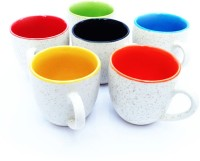 Vpra Mart Marble Normal Cups Ceramic Mug (130 Ml, Pack Of 6)