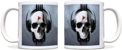 ShopMantra Plates & Tableware ShopMantra Skull Music Design Black Ceramic Mug