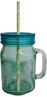 Toygully Cups & Mugs Toygully Straw With Blue Jar Glass Mug